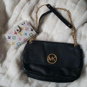 MICHAEL KORS Black & Gold Leather Shoulder Bag
